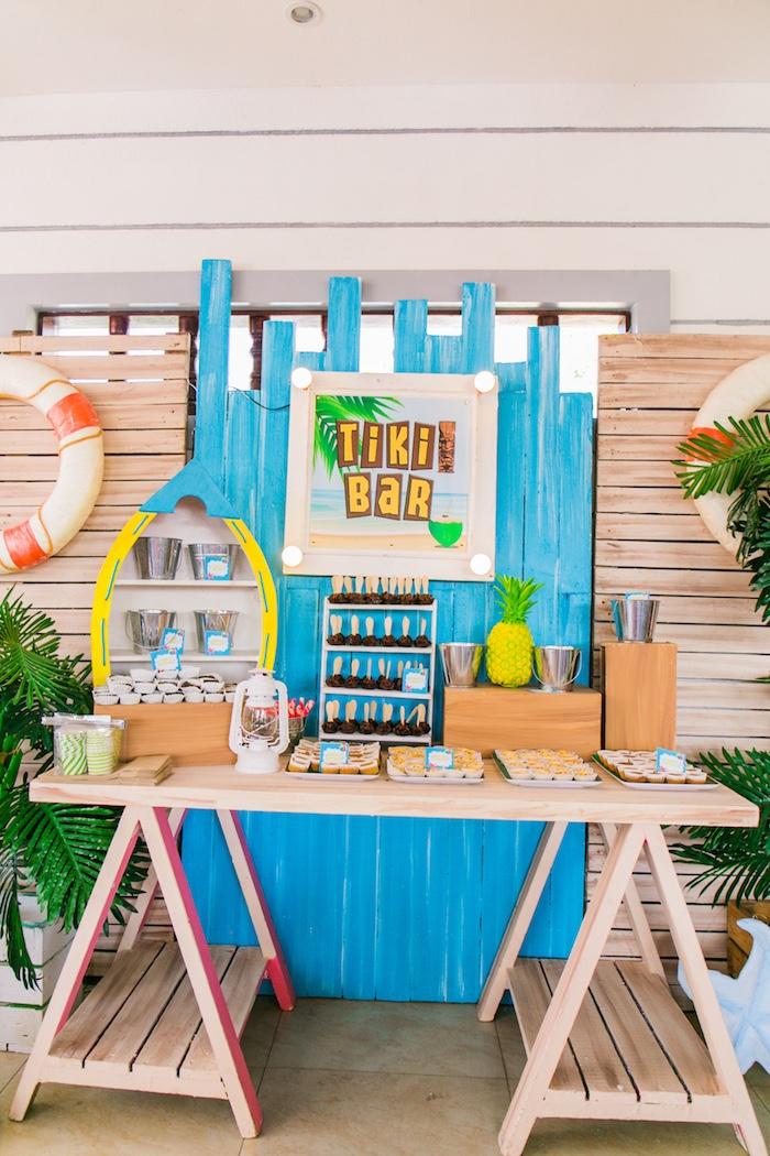 Tiki Bar Dessert Table from a Surf & Summer Birthday Pool Party on Kara's Party Ideas | KarasPartyIdeas.com (27)