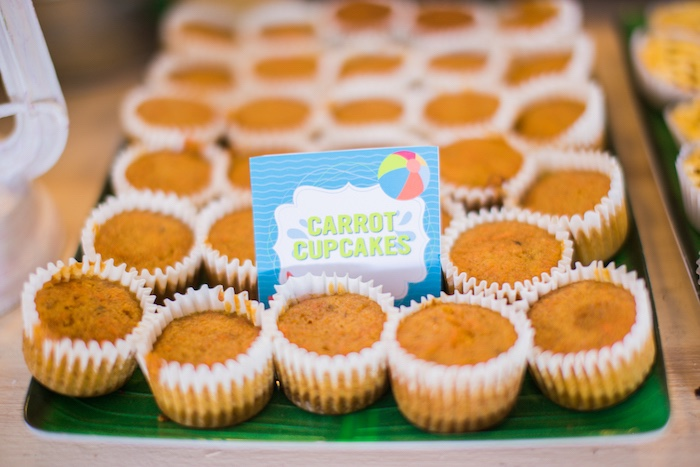 Carrot Cupcakes from a Surf & Summer Birthday Pool Party on Kara's Party Ideas | KarasPartyIdeas.com (26)