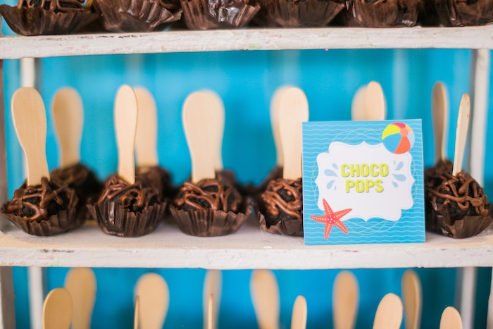 Choco Pops from a Surf & Summer Birthday Pool Party on Kara's Party Ideas | KarasPartyIdeas.com (23)