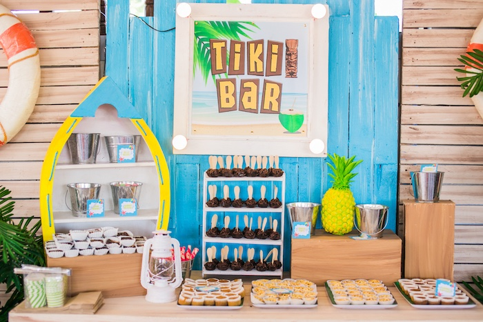 Tiki Bar Dessert Spread from a Surf & Summer Birthday Pool Party on Kara's Party Ideas | KarasPartyIdeas.com (22)