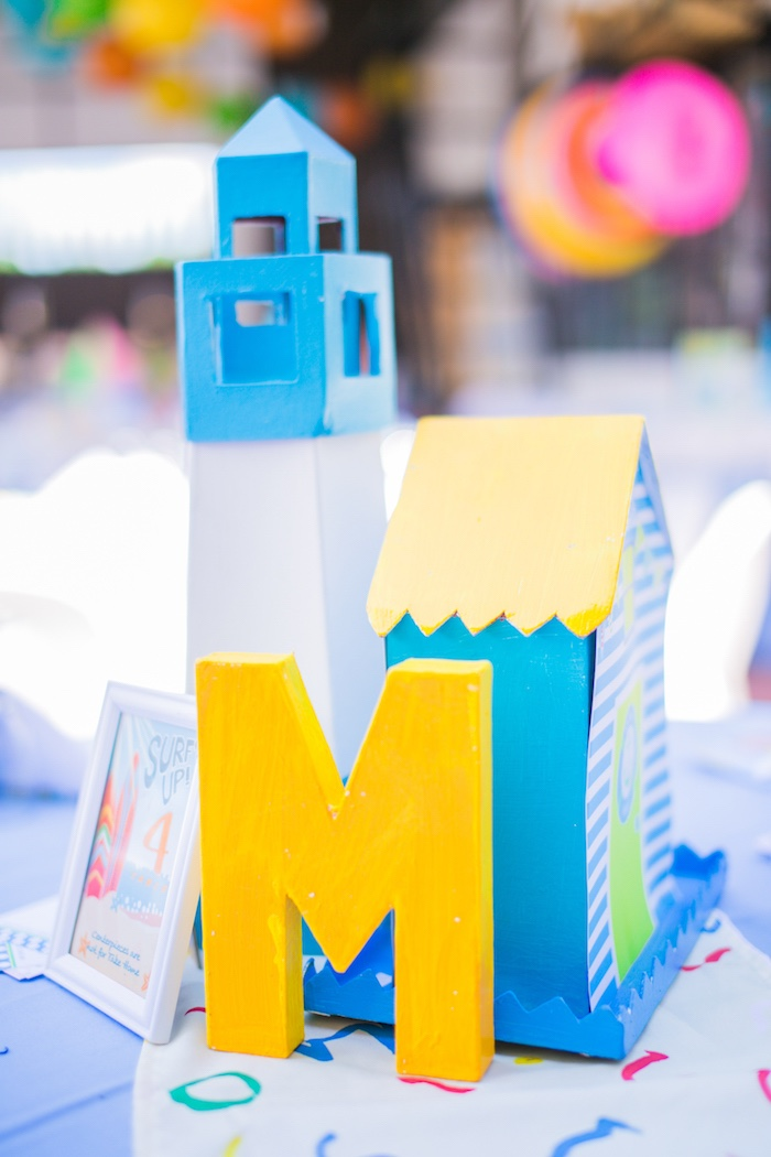 Beach Themed Table Centerpiece + Signage from a Surf & Summer Birthday Pool Party on Kara's Party Ideas | KarasPartyIdeas.com (21)