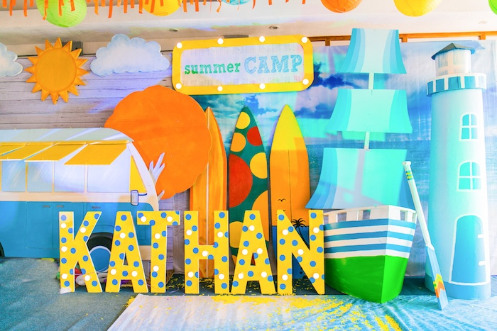 Summer Camp Backdrop from a Surf & Summer Birthday Pool Party on Kara's Party Ideas | KarasPartyIdeas.com (38)