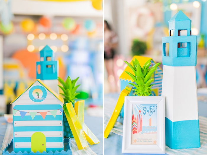 Beach Themed Table Centerpieces + Signage from a Surf & Summer Birthday Pool Party on Kara's Party Ideas | KarasPartyIdeas.com (19)
