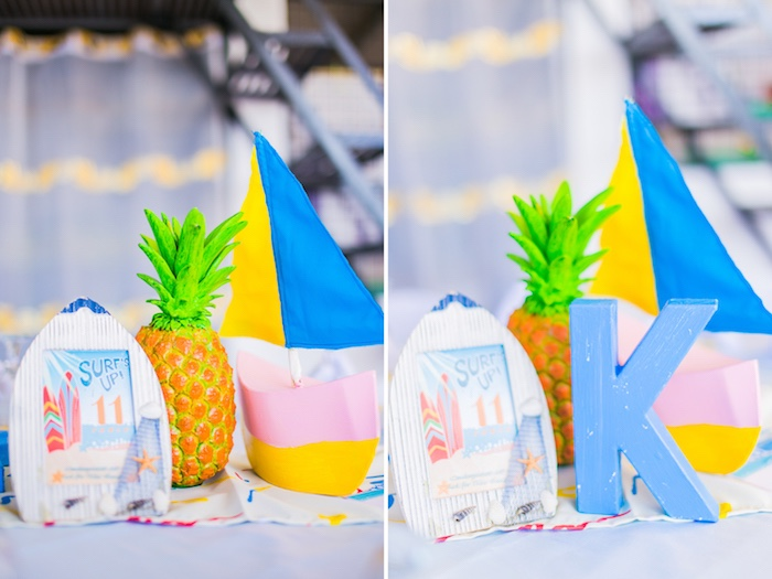 Beach Themed Table Centerpieces + Signage from a Surf & Summer Birthday Pool Party on Kara's Party Ideas | KarasPartyIdeas.com (18)
