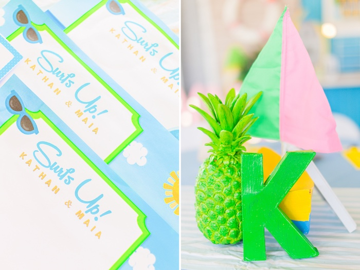 Surf Signage + Table Centerpiece from a Surf & Summer Birthday Pool Party on Kara's Party Ideas | KarasPartyIdeas.com (17)