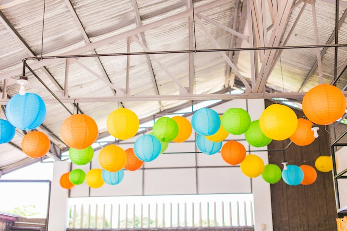 Paper Lantern Ceilingscape from a Surf & Summer Birthday Pool Party on Kara's Party Ideas | KarasPartyIdeas.com (16)