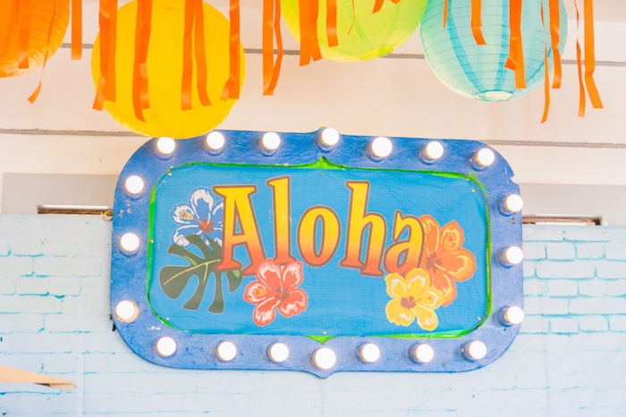 Aloha Marquee Signage from a Surf & Summer Birthday Pool Party on Kara's Party Ideas | KarasPartyIdeas.com (15)