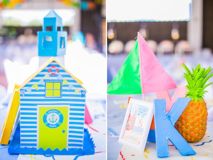 Beach Themed Table Centerpieces from a Surf & Summer Birthday Pool Party on Kara's Party Ideas | KarasPartyIdeas.com (14)