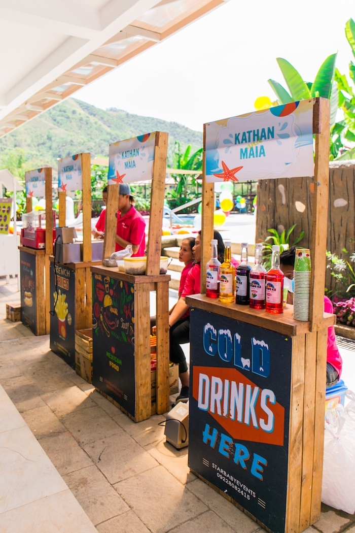 Food & Drink Stands from a Surf & Summer Birthday Pool Party on Kara's Party Ideas | KarasPartyIdeas.com (12)