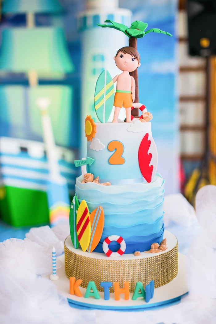 Surf Themed Birthday Cake from a Surf & Summer Birthday Pool Party on Kara's Party Ideas | KarasPartyIdeas.com (37)