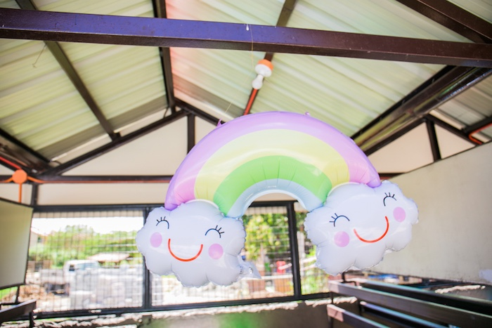 Rainbow Balloon from a Surf & Summer Birthday Pool Party on Kara's Party Ideas | KarasPartyIdeas.com (9)
