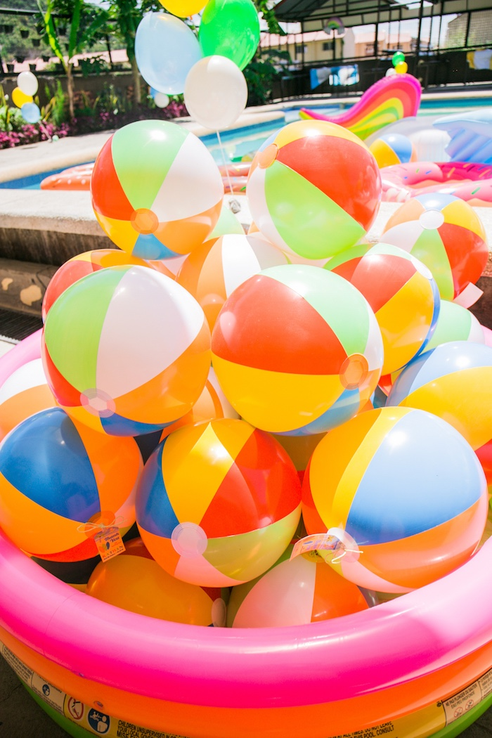 Beach Balls from a Surf & Summer Birthday Pool Party on Kara's Party Ideas | KarasPartyIdeas.com (8)
