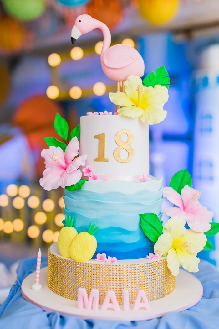 Tropical Flamingo Cake from a Surf & Summer Birthday Pool Party on Kara's Party Ideas | KarasPartyIdeas.com (36)