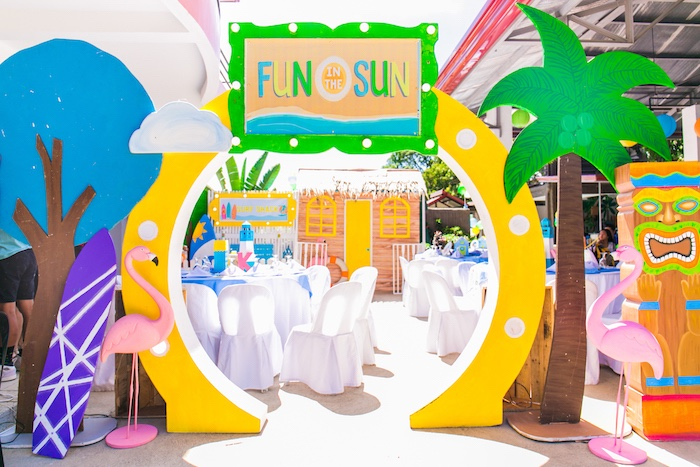 Fun in the Sun Welcome Arch from a Surf & Summer Birthday Pool Party on Kara's Party Ideas | KarasPartyIdeas.com (35)