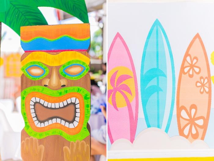 Tiki Pole from a Surf & Summer Birthday Pool Party on Kara's Party Ideas | KarasPartyIdeas.com (34)
