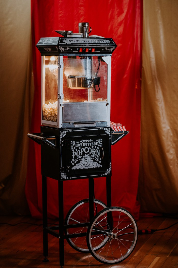 Popcorn Machine from The Greatest Showman Inspired Circus Party on Kara's Party Ideas | KarasPartyIdeas.com (14)
