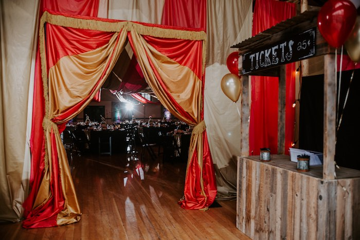Big Top Ticket Booth Entrance from a The Greatest Showman Inspired Circus Party on Kara's Party Ideas | KarasPartyIdeas.com (10)