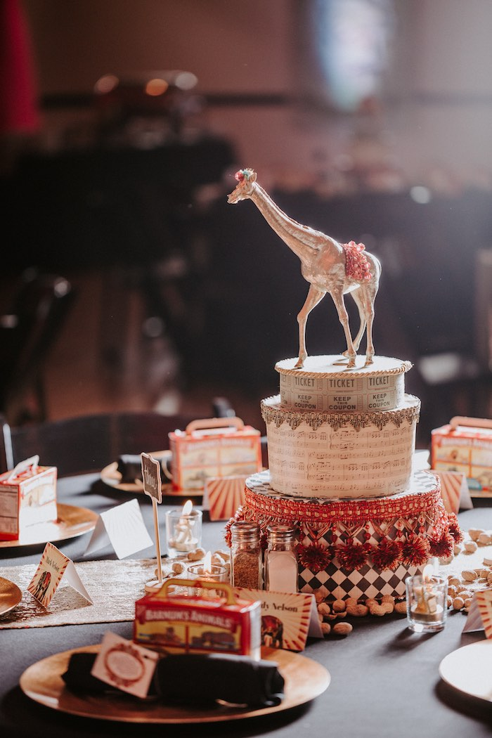 Giraffe Circus-inspired Table Centerpiece from The Greatest Showman Inspired Circus Party on Kara's Party Ideas | KarasPartyIdeas.com (22)