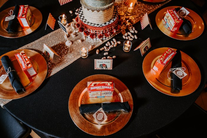 Circus Themed Table Settings from The Greatest Showman Inspired Circus Party on Kara's Party Ideas | KarasPartyIdeas.com (19)