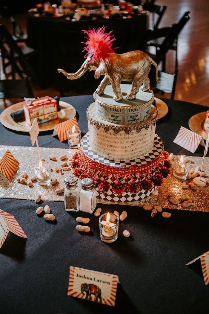 Circus-inspired Table Centerpiece from The Greatest Showman Inspired Circus Party on Kara's Party Ideas | KarasPartyIdeas.com (18)