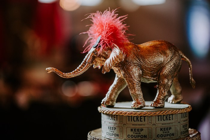 Glam Circus Elephant Centerpiece from The Greatest Showman Inspired Circus Party on Kara's Party Ideas | KarasPartyIdeas.com (16)