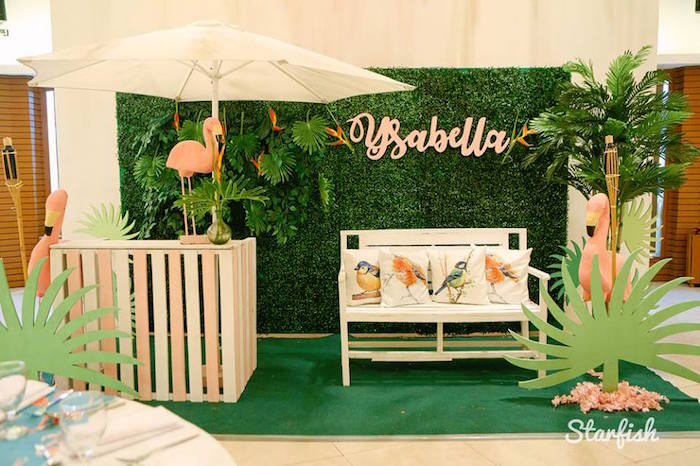 Tropical Bird Lounge from a Tropical Flamingo Birthday Party on Kara's Party Ideas   KarasPartyIdeas.com (19)
