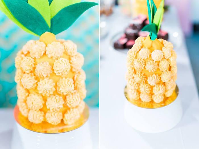 Meringue Kiss Pineapple from a Tropical Flamingo Birthday Party on Kara's Party Ideas | KarasPartyIdeas.com (22)