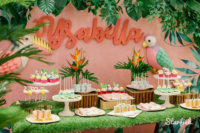 Tropical Dessert Table from a Tropical Flamingo Birthday Party on Kara's Party Ideas   KarasPartyIdeas.com (18)