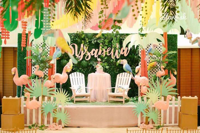 Flamingo Cake Lounge from a Tropical Flamingo Birthday Party on Kara's Party Ideas   KarasPartyIdeas.com (17)