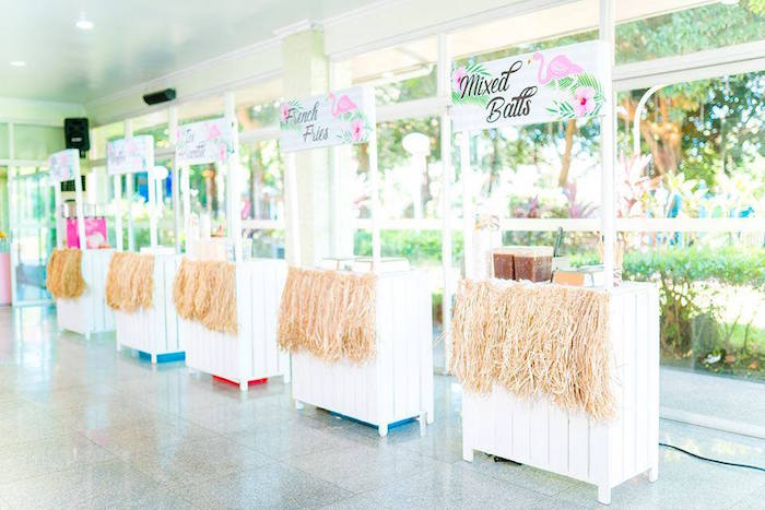 Tropical Food Stands from a Tropical Flamingo Birthday Party on Kara's Party Ideas | KarasPartyIdeas.com (20)