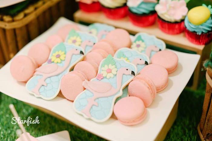 Pink Macarons & Flamingo Cookies from a Tropical Flamingo Birthday Party on Kara's Party Ideas   KarasPartyIdeas.com (16)