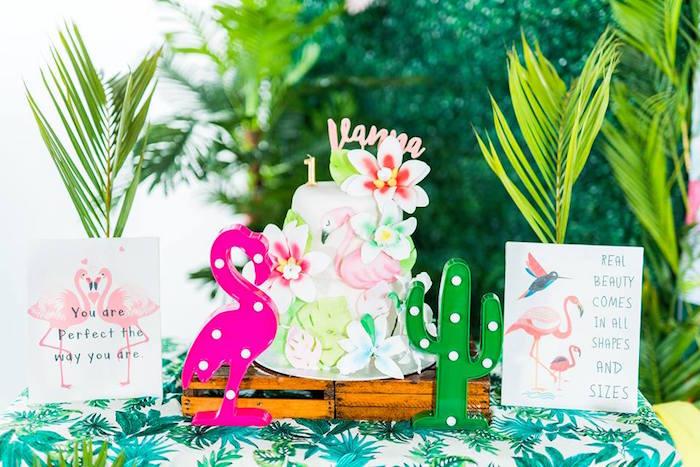 Flamingo Cake Table from a Tropical Flamingo Birthday Party on Kara's Party Ideas | KarasPartyIdeas.com (19)