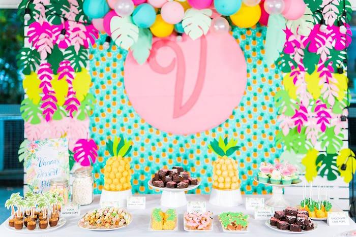 Tropical Dessert Table from a Tropical Flamingo Birthday Party on Kara's Party Ideas | KarasPartyIdeas.com (18)