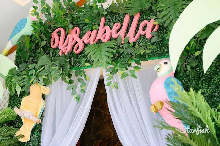 Tropical Leaf Backdrop + Arch from a Tropical Flamingo Birthday Party on Kara's Party Ideas   KarasPartyIdeas.com (14)