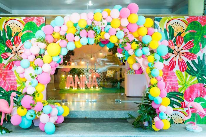Tropical Balloon Arch from a Tropical Flamingo Birthday Party on Kara's Party Ideas | KarasPartyIdeas.com (17)