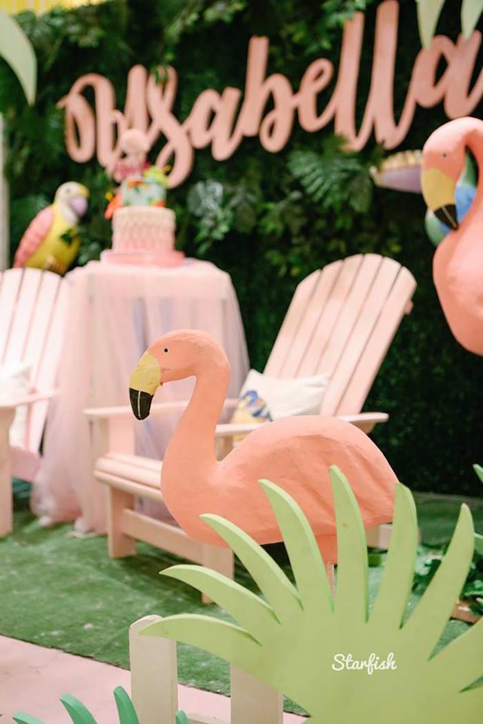 Flamingo Standee from a Tropical Flamingo Birthday Party on Kara's Party Ideas   KarasPartyIdeas.com (13)