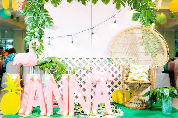Flamingo Lounge from a Tropical Flamingo Birthday Party on Kara's Party Ideas | KarasPartyIdeas.com (16)