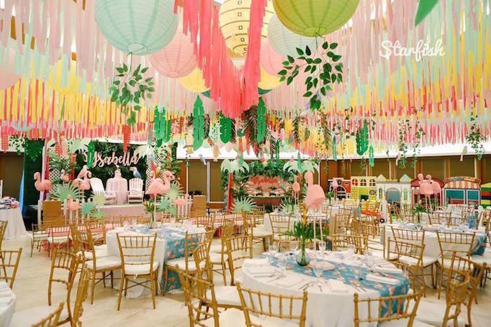 Tropical Partyscape from a Tropical Flamingo Birthday Party on Kara's Party Ideas   KarasPartyIdeas.com (12)