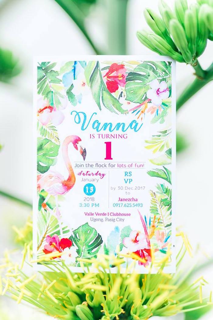 Flamingo Party Invite from a Tropical Flamingo Birthday Party on Kara's Party Ideas | KarasPartyIdeas.com (15)