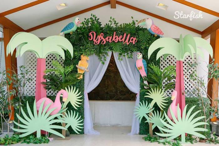 Tropical Party Entrance from a Tropical Flamingo Birthday Party on Kara's Party Ideas   KarasPartyIdeas.com (11)