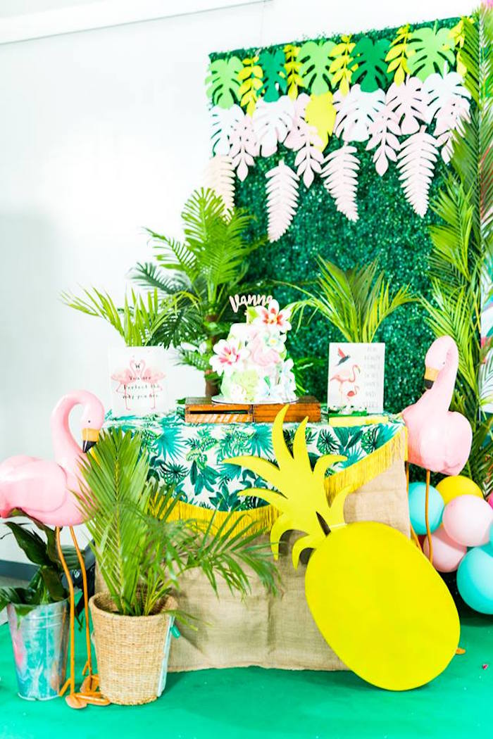 Cake Table from a Tropical Flamingo Birthday Party on Kara's Party Ideas | KarasPartyIdeas.com (14)