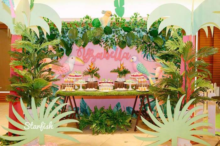 Flamingo Dessert Table from a Tropical Flamingo Birthday Party on Kara's Party Ideas   KarasPartyIdeas.com (10)