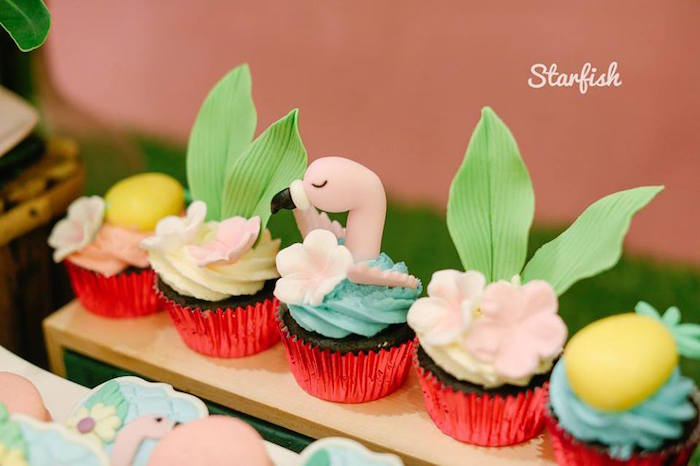 Cupcakes from a Tropical Flamingo Birthday Party on Kara's Party Ideas   KarasPartyIdeas.com (28)
