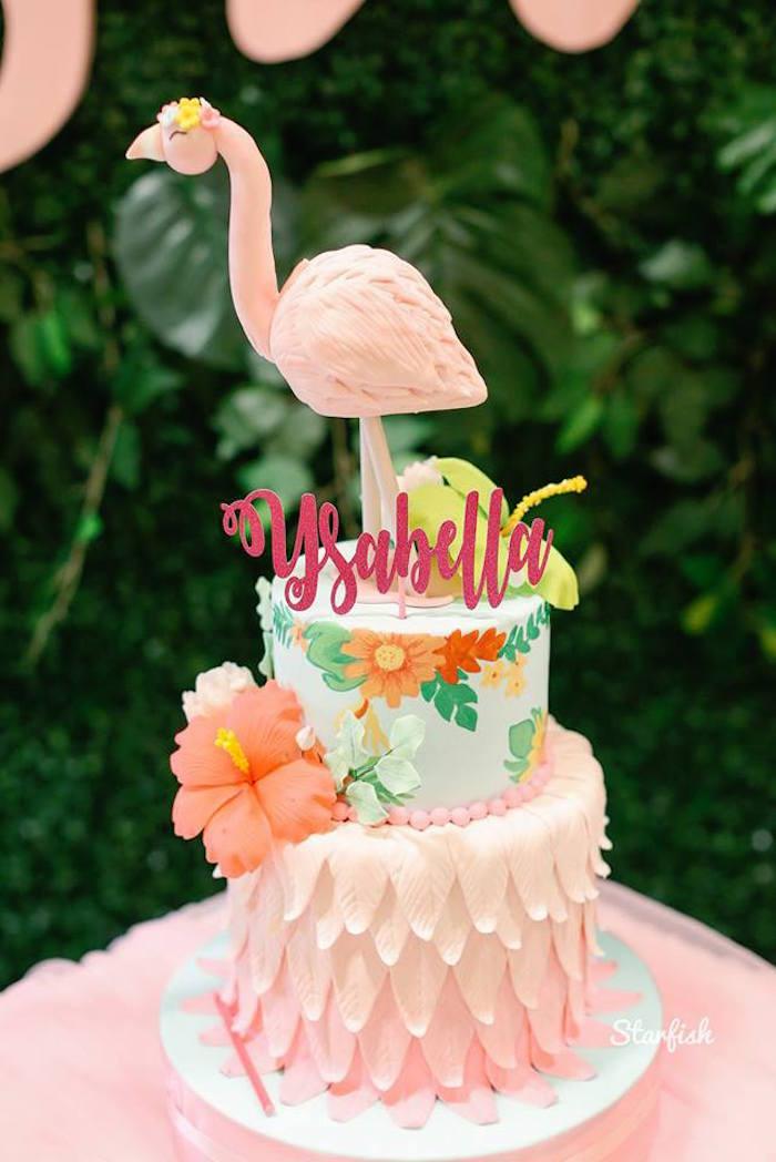 Flamingo Cake from a Tropical Flamingo Birthday Party on Kara's Party Ideas   KarasPartyIdeas.com (9)