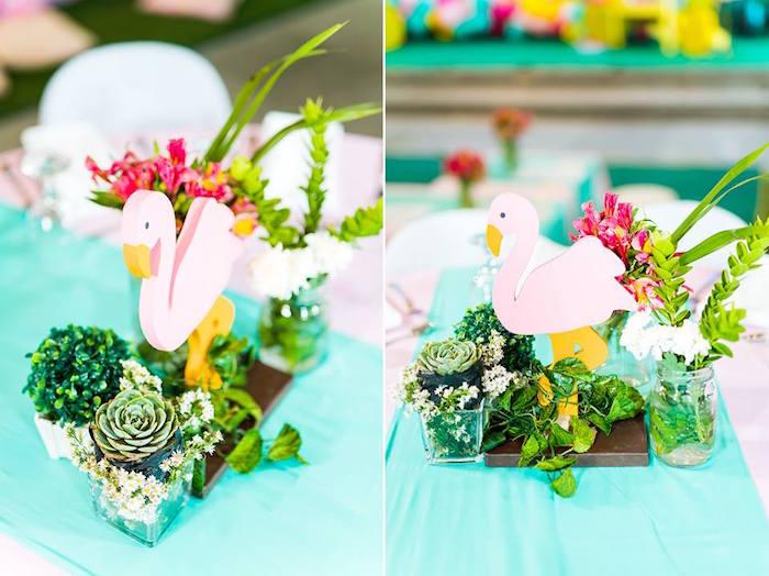 Flamingo Table Centerpiece from a Tropical Flamingo Birthday Party on Kara's Party Ideas | KarasPartyIdeas.com (12)