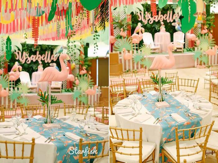 Flamingo Guest Table from a Tropical Flamingo Birthday Party on Kara's Party Ideas   KarasPartyIdeas.com (8)