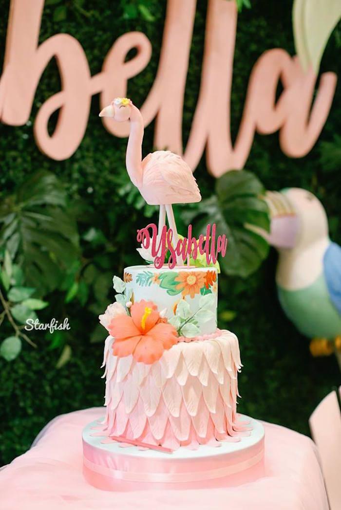 Flamingo Cake from a Tropical Flamingo Birthday Party on Kara's Party Ideas   KarasPartyIdeas.com (7)