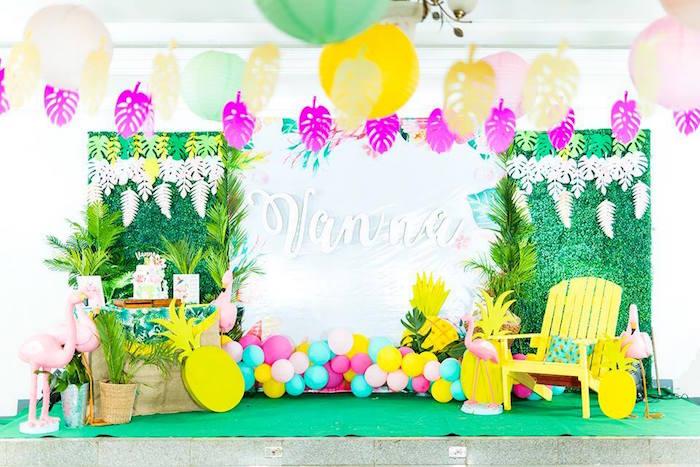 Tropical Flamingo Birthday Party on Kara's Party Ideas | KarasPartyIdeas.com (10)
