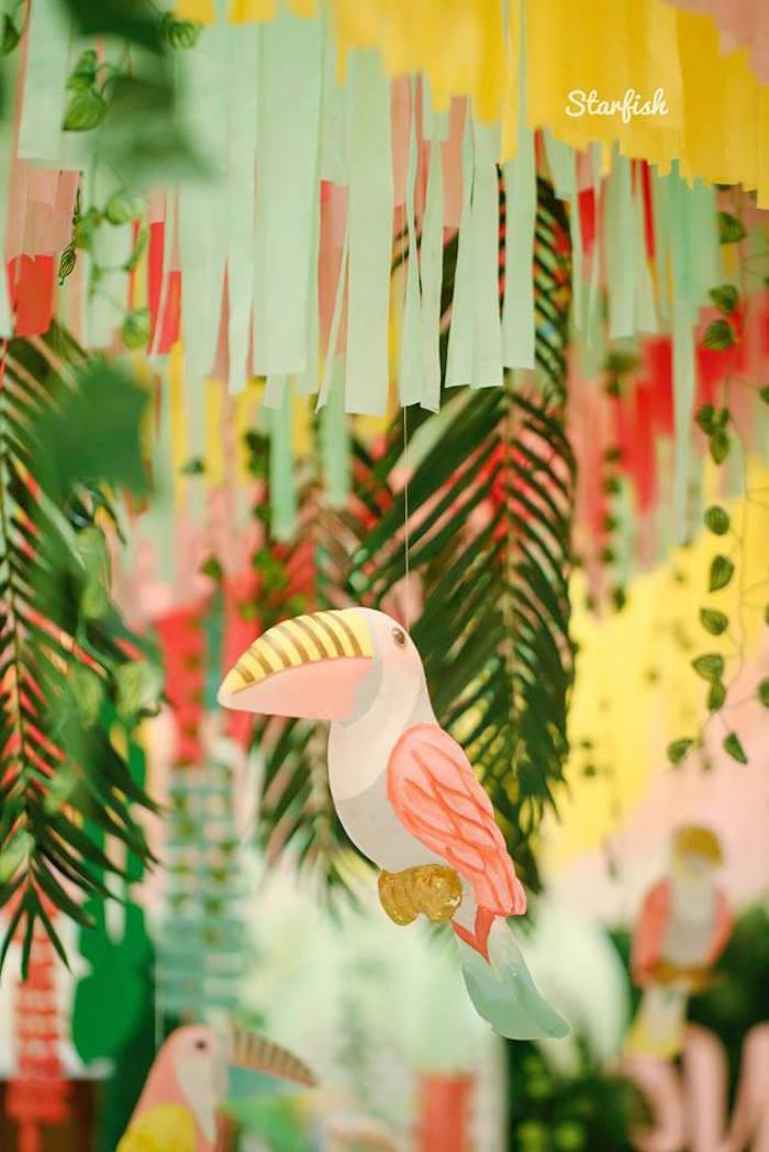 Hanging Tropical Bird from a Tropical Flamingo Birthday Party on Kara's Party Ideas   KarasPartyIdeas.com (6)