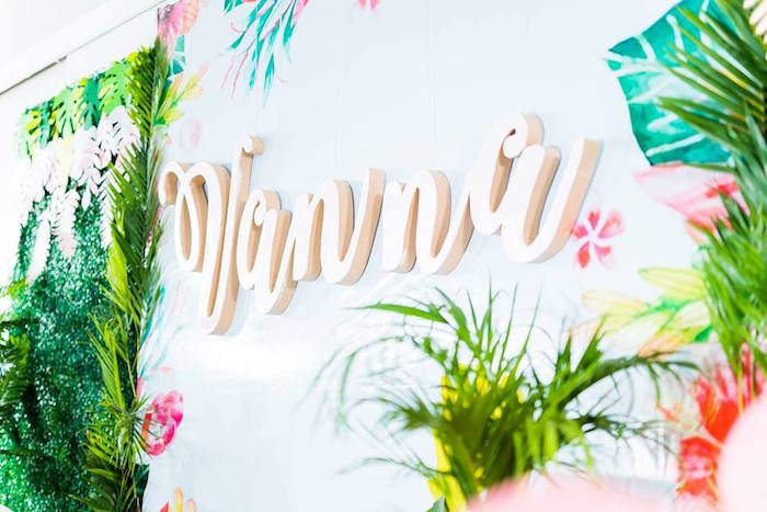 Acrylic Letter Banner from a Tropical Flamingo Birthday Party on Kara's Party Ideas | KarasPartyIdeas.com (6)
